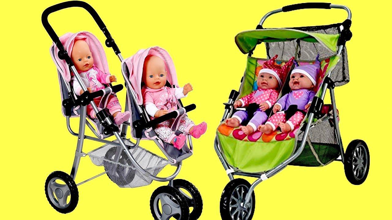 Baby Dolls Twin Jogger Stroller Dubble Pram Baby Born Baby