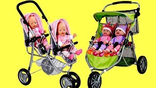 Baby Dolls Twin Jogger Stroller Dubble Pram Baby Born Baby Annabell
