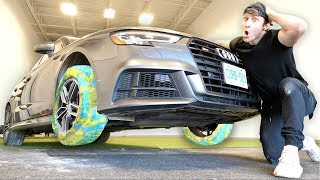I PUT BOUNCY BALL TIRES ON MY CAR!!