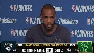 Khris Middleton (35 PTS) Meets With The Media After Game 3