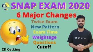 😯Shocking News SNAP Exam 2020 - 6 Major Changes. Twice Exam, New Pattern, 60 mins paper.