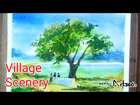 Watercolor Landscape painting for beginners / সহজে গ্রামের দৃশ্য আঁকা/Easy Village scenery drawing