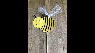 Добрая пчелка Майя на палочке - поделка в садик