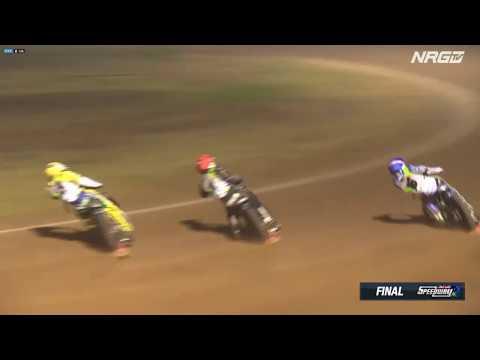 Final (restart) - Round 2 2020 Australian Speedway Championship from Albury-Wodonga. 1st Rohan Tungate (R), 2nd Jaimon Lidsey (B), 3rd Max Fricke (W), ... - dirt track racing video image