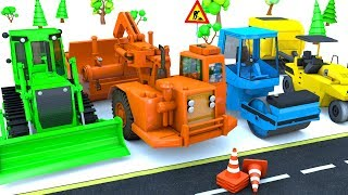 Colors for children to learn with Engineering vehicles and Road construction trucks for kids