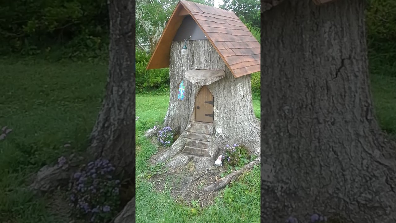 Tree Trunk Stump Gnome Church House At A Thrift Store Garden