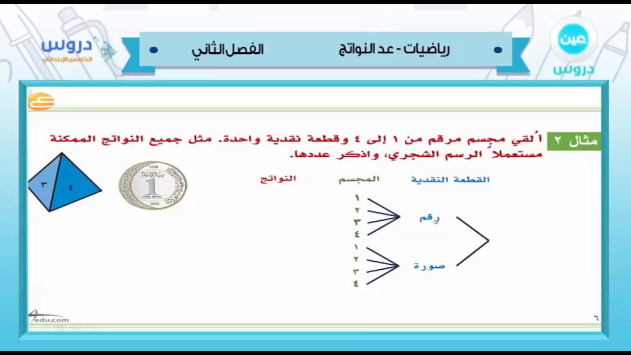 الخامس الابتدائي الفصل الدراسي الثاني 1438 رياضيات عد النواتج Youtube