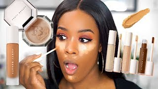 THE BEST CONCEALER EVER?!! FENTY BEAUTY PRO FILT'R CONCEALER AND SETTING POWDER REVIEW