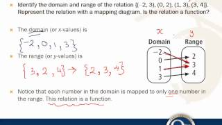 Find the Domain and Range of a Relation