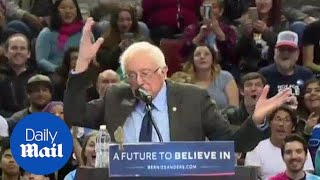 Bernie Sanders upstaged by 'bird of peace' during rally - Daily Mail