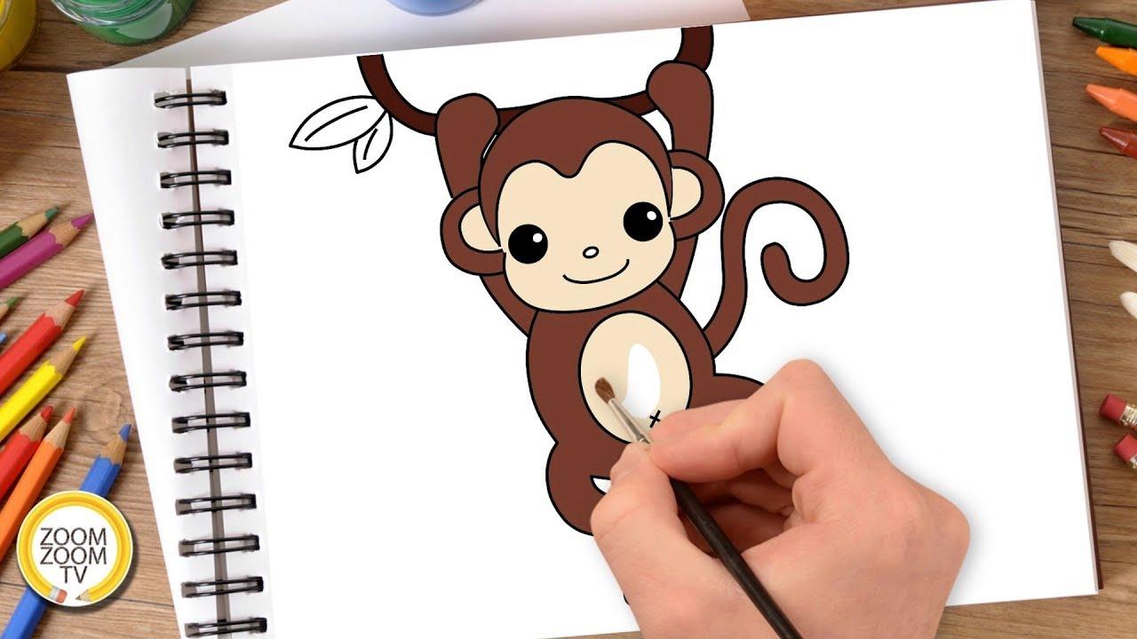 Hướng dẫn cách vẽ CON KHỈ – Tô màu con Khỉ – How to draw A Monkey