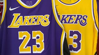 Lebron James Nike Authentic Lakers Jersey Gold and Purple