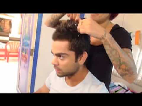 Styling Virat Kohlis Hair Before The World Cup Youtube