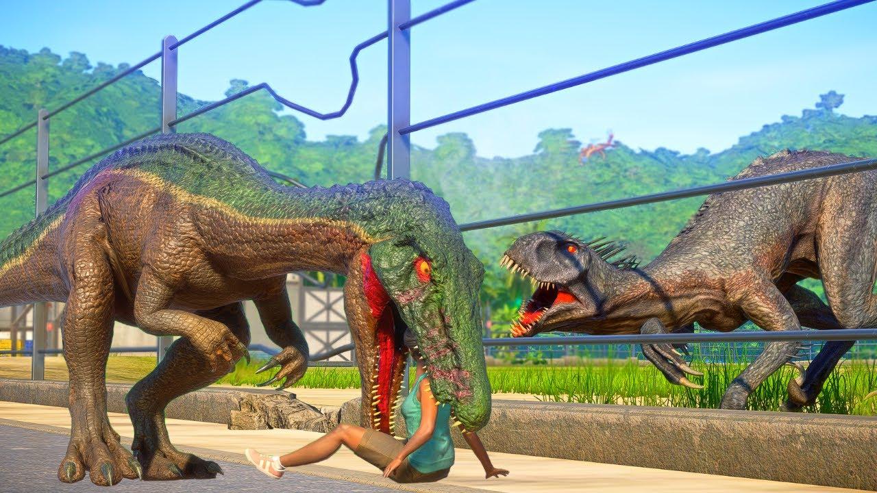 E750 SCORPIUS REX, TORO, GRIM, DARCY, TREX Jurassic World Camp Cretaceous Dinosaurs fighting in park