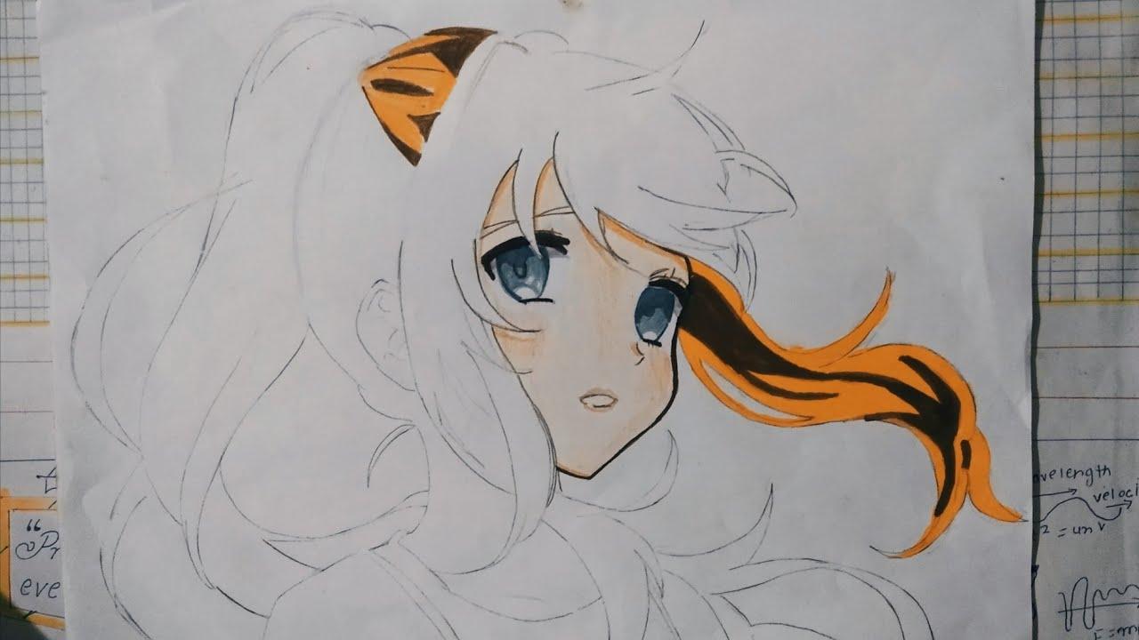 Anime Girl Speed Drawing - YouTube