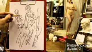 """Обучение рисунку. Фигура. 5 серия: наброски женской фигуры и понятие """"движения"""". Фильм II"""