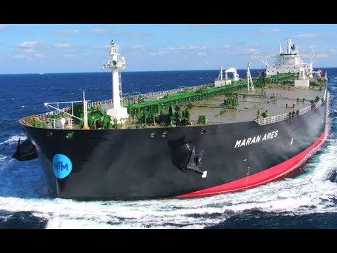 10 Big Crude Oil Tanker Ships Working at waves Sea
