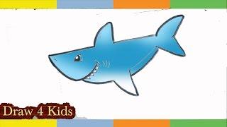 cartoon shark draw drawing easy sharks step lesson getdrawings