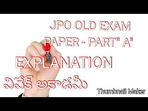 JPO OLD EXAM PAPER - PART A  EXPLANATION, JPO TELUGU CLASS