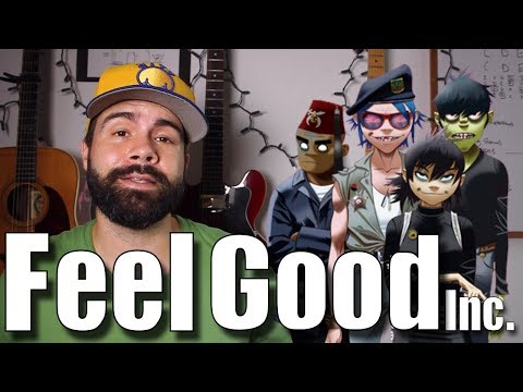 Feel Good, Inc. - Gorillaz - Easy Acoustic Guitar tutorial with bass and tabs