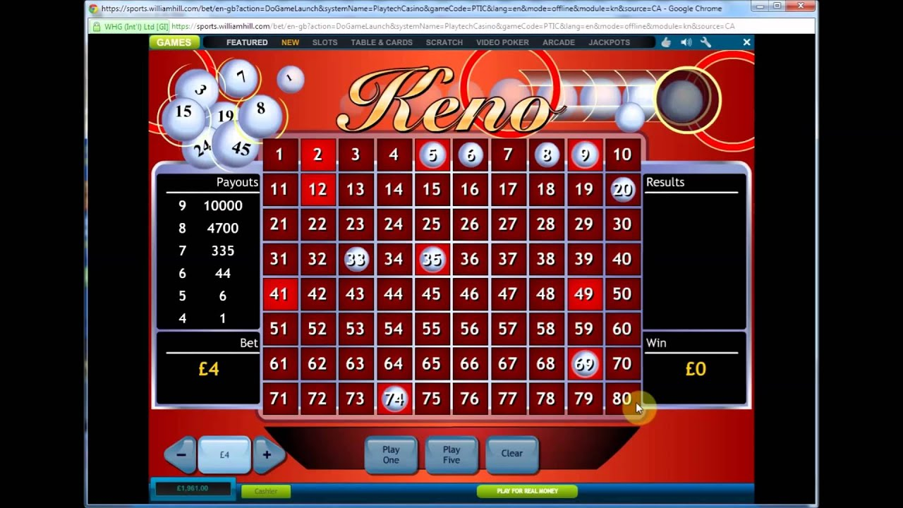 Wirtualne Kasyno Online Keno