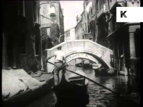 1930s Venice, Italy, Canal, Gondola, Archive Footage