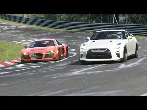 Audi R8 V10 Plus LMS Kit vs Nissan GTR at Nordschleife