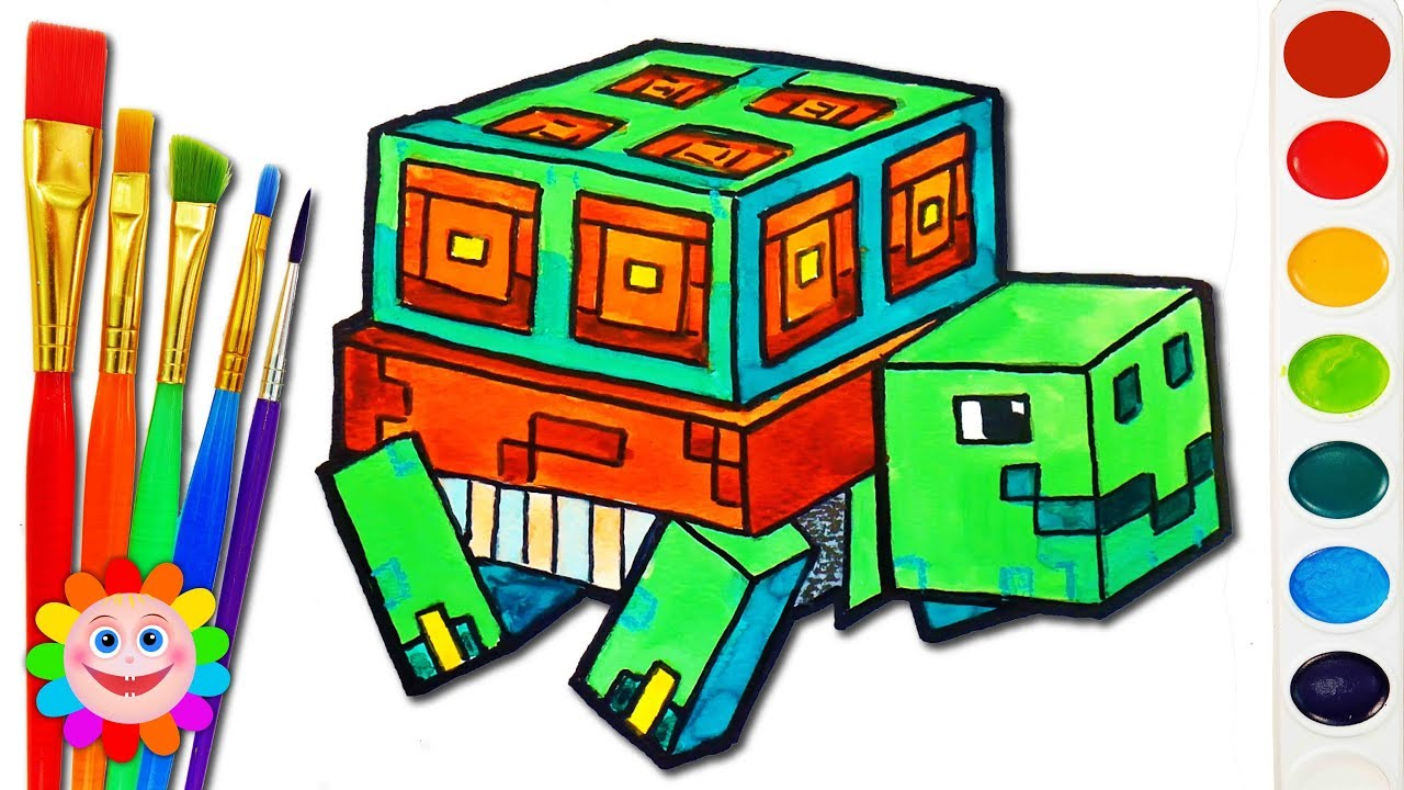 Image of: Pig How To Draw Minecraft Animals Turtle Pixel Art For Kids Youtube How To Draw Minecraft Animals Turtle Pixel Art For Kids Youtube