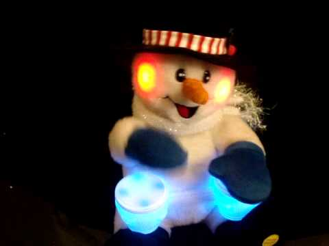 Gemmy Bongo Drum Snowman Animated Light Up Musical Christmas Time is Coming