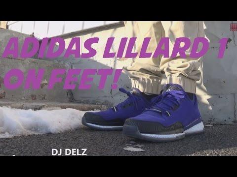 pick up 7e482 a6c6a adidas Damian Lillard 1 Purple Suede Sneaker On Feet With  DjDelz