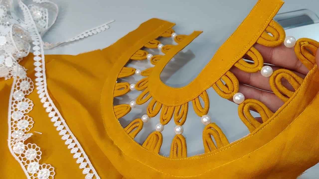 Dori और Pearl Beads से बनाएं Round Neck का खूबसूरत डिज़ाइन / Beautiful Round Neck Design with Dori