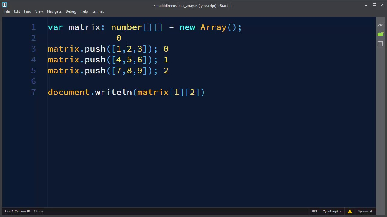 Multidimensional Arrays in TypeScript | Arrays of Arrays in TypeScript