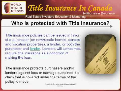 Title Insurance In Canada
