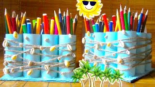 How To Make A Pencil Holder Recycling Toilet Paper Rolls | Back To School 2015 Diy