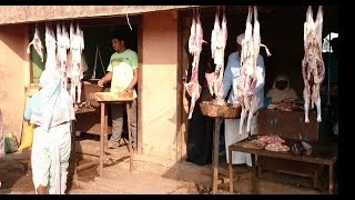 Meat / Mutton & Chicken Market Shops In Lasalgaon Rural Village Of India 2015 [HD VIDEO 1080p]