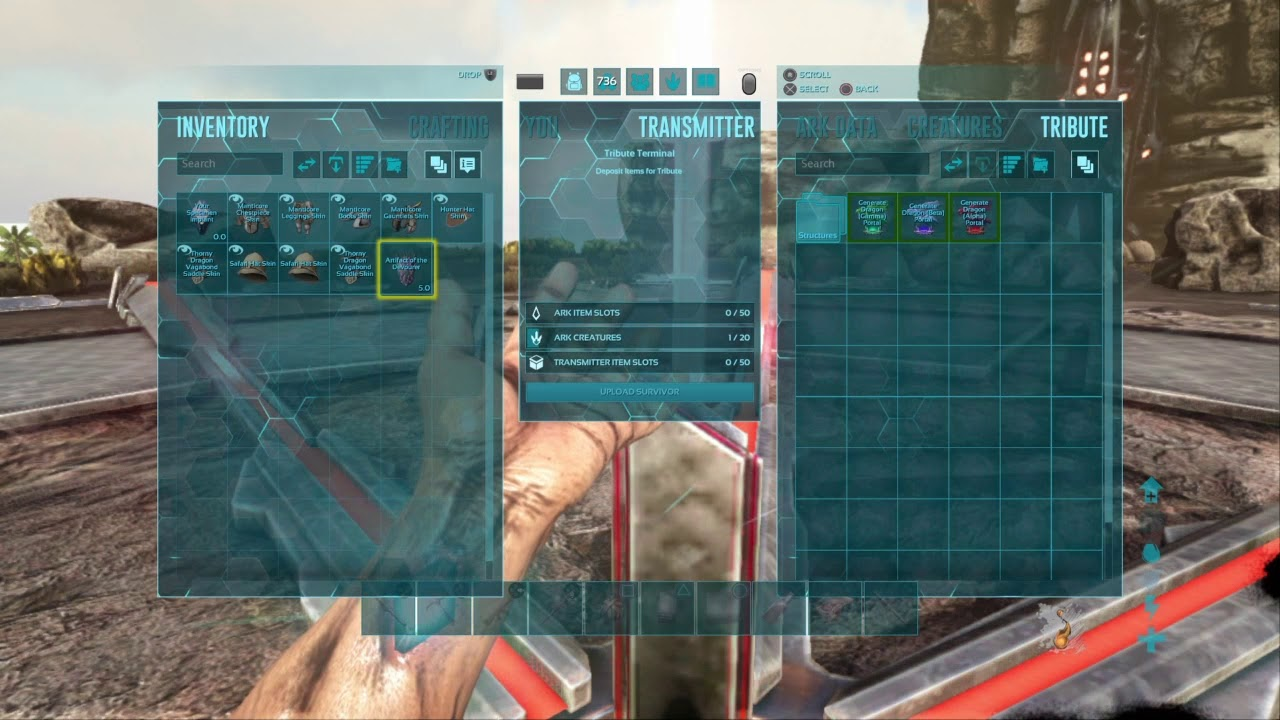 ark how to transfer items