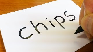 How to turn words CHIPS(Potato Chips)into a Cartoon for kids - How to draw doodle art on paper