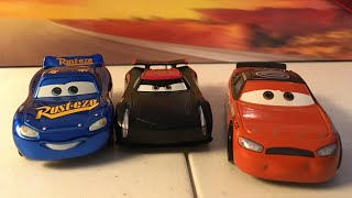 Disney Pixar cars 3 Thomasville Legend Jackson Storm, Ponchy wipeout, and fabulous McQueen diecast