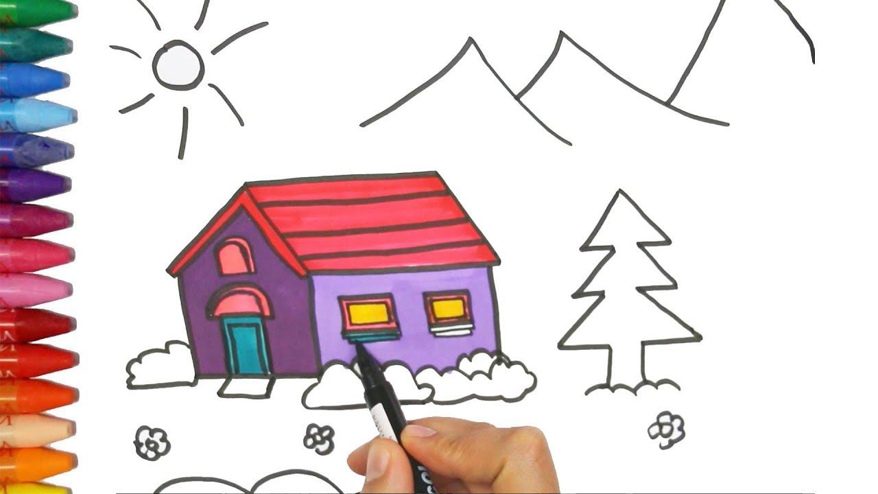 wie man haus zeichnet wie zeichnet man ein haus zeichnen und ausmalen f r kinder youtube. Black Bedroom Furniture Sets. Home Design Ideas