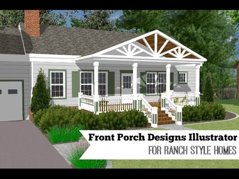 Front porch designs illustrator for a ranch style home - Deck ideas for home ...