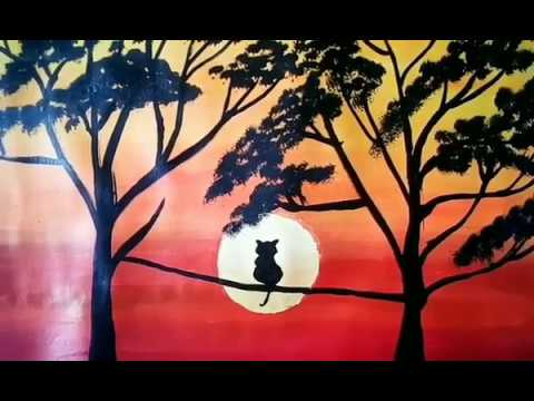 Landscape Painting 🎨With Beautiful Tree 🌳& Cat 🐈.  Learn Step By Step.