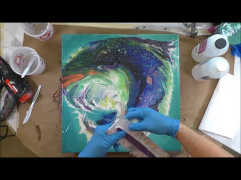 (157) Resin Tutorial Over Acrylic Pours on Clock Printed Canvas & Diptych ProMarine Epoxy 081718