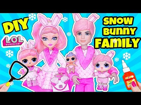 LOL Families Surprise! How to Make SNOW Bunny Family DIY