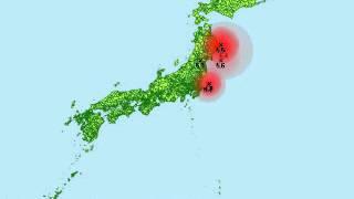 東日本大震災の地震を時間にそって震源と規模を表示してみました。 デー...