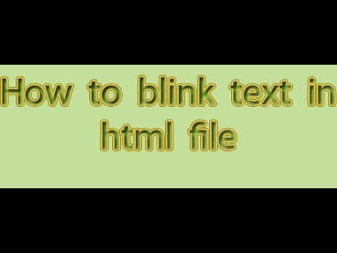 How To Blink Text In Html File In Notepad In Urdu/hindi