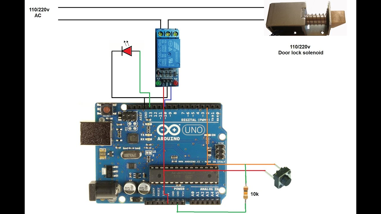 Electronic Door Lock Wiring Diagram For Credit Card Transaction Process Flow Password With Only One Button Switch Using Arduino
