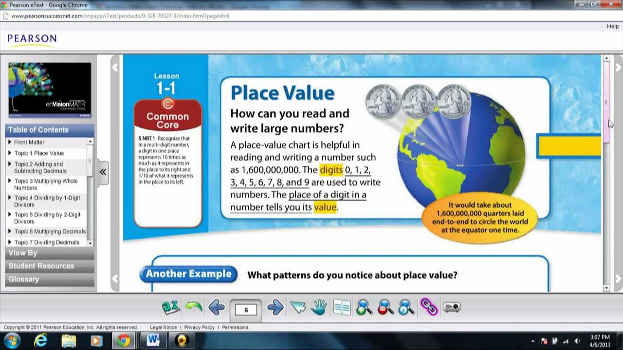 enVision Math 5th Grade Common Core- Learning Place Value ( Topic 1 ...