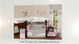 Pink and Gray Zig Zag Baby Bedding Set