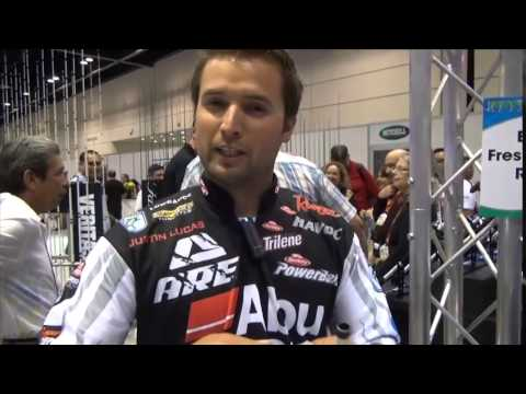 Justin Lucas with ICAST's best reel, the new Abu Garcia Beast