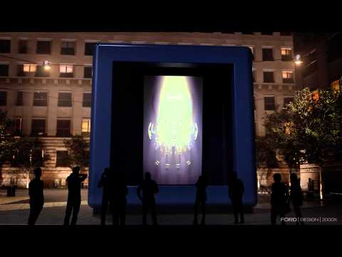 Animation of the Ford GT Light Sculpture in the heart of Milan
